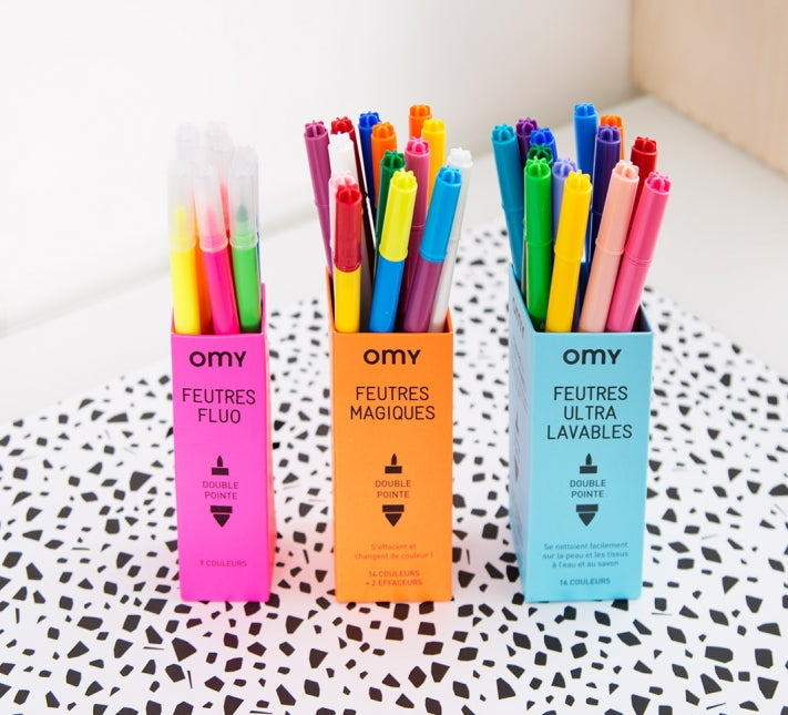 OMY: Ultra Washable Felt Pens OMY Colouring Prints - Bon Tot