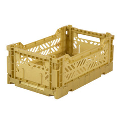Folding Crate: Mini Stackable Storage Crate - Gold Folding Crates - Bon Tot