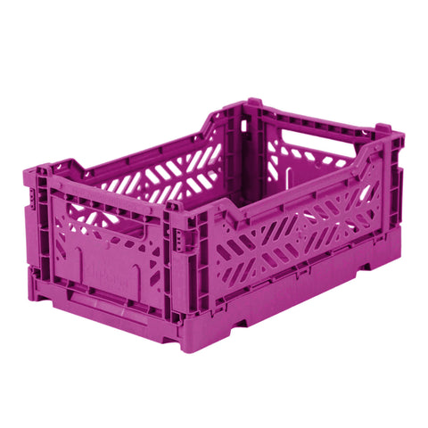 Folding Crate: Mini Stackable Storage Crate - Purple Folding Crates - Bon Tot