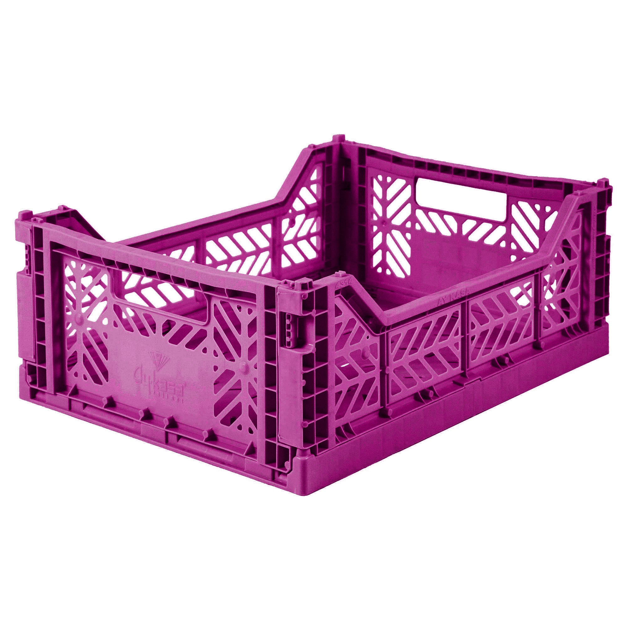 Folding Crate: Midi Stackable Storage Crate - Purple Folding Crates - Bon Tot