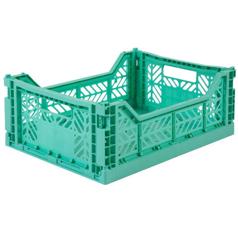 Folding Crate: Midi Stackable Storage Crate - Mint Green Folding Crates - Bon Tot