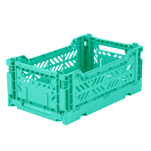 Folding Crate: Mini Stackable Storage Crate - Mint Green Folding Crates - Bon Tot