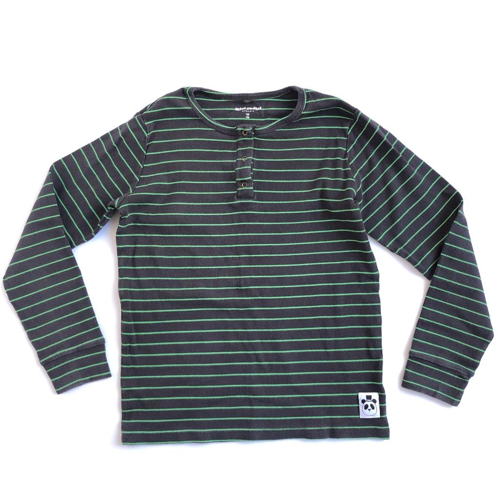 Bon Voyage: Mini Rodini Black and Green Stripe L/S size 140/146