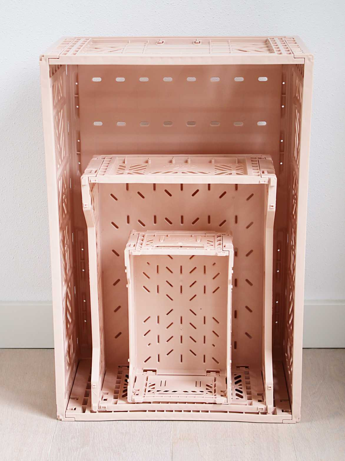 Folding Crate: Midi Stackable Storage Crate - Salmon Pink Folding Crates - Bon Tot