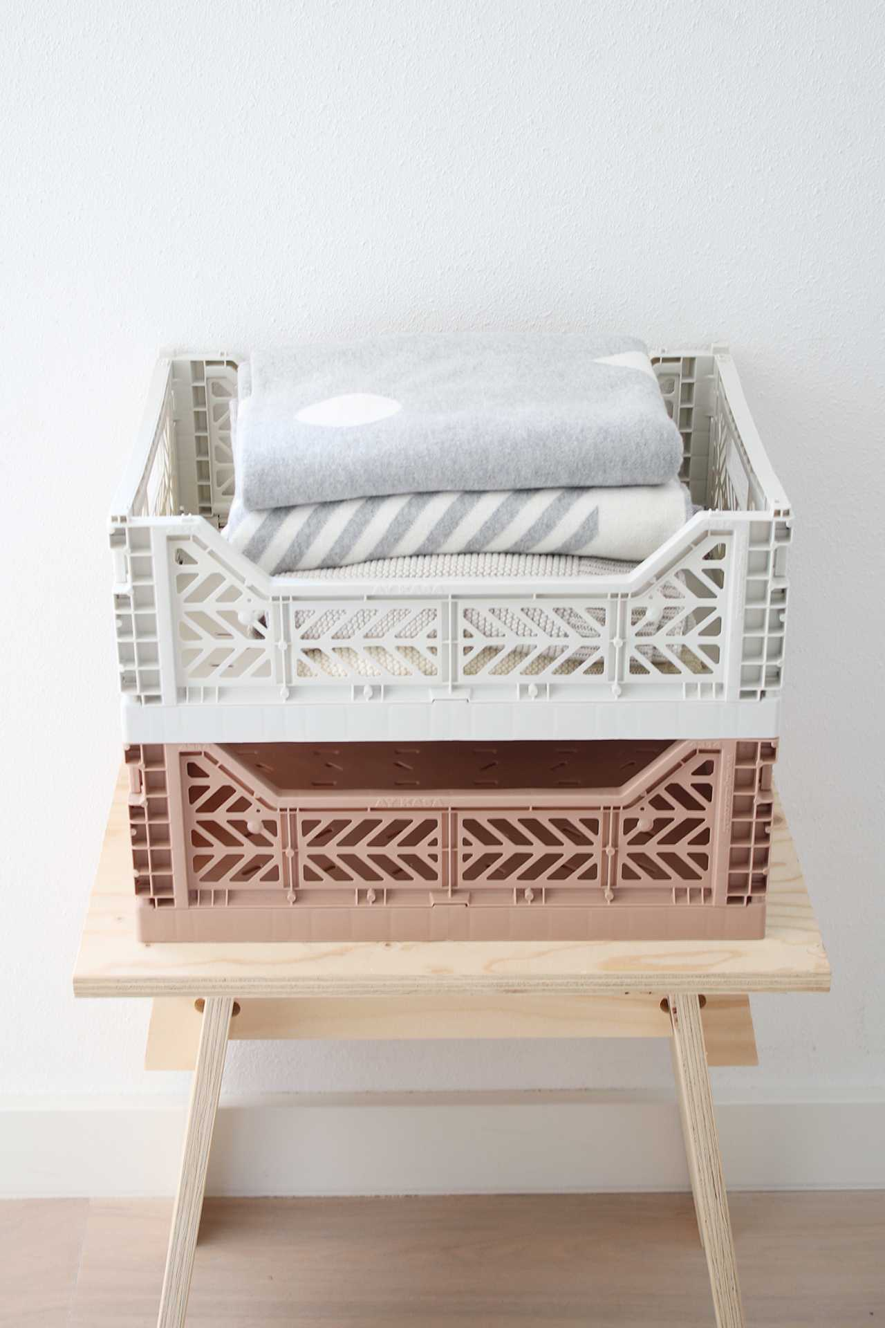 Folding Crate: Midi Stackable Storage Crate - Milk Tea Folding Crates - Bon Tot