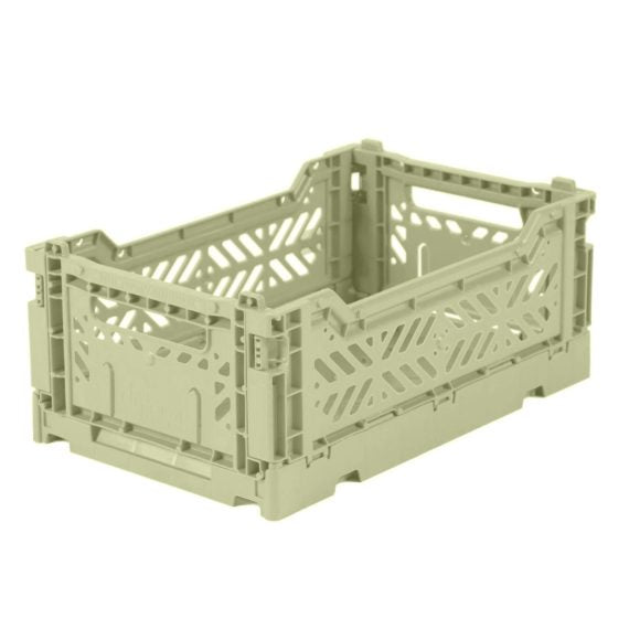Folding Crate: Mini Stackable Storage Crate - Lime Cream Folding Crates - Bon Tot