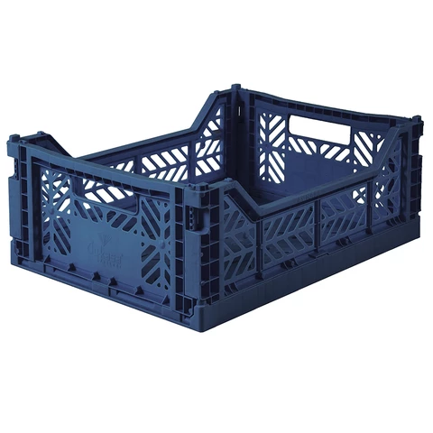 Folding Crate: Midi Stackable Storage Crate - Navy