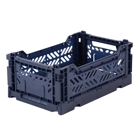 Folding Crate: Mini Stackable Storage Crate - Navy