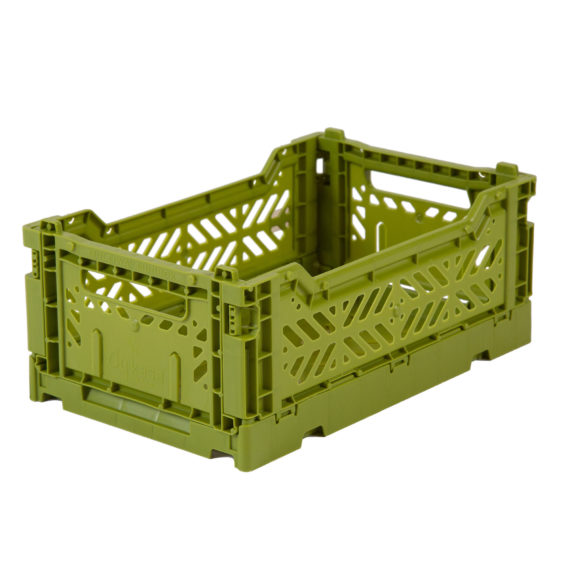 Folding Crate: Mini Stackable Storage Crate - Olive Folding Crates - Bon Tot