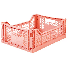 Folding Crate: Midi Stackable Storage Crate - Salmon Pink