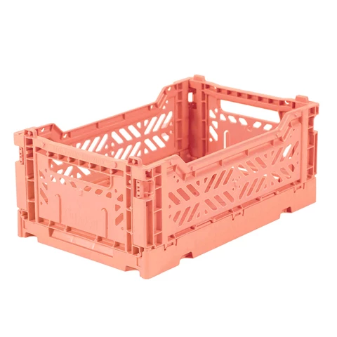 Folding Crate: Mini Stackable Storage Crate - Salmon Pink