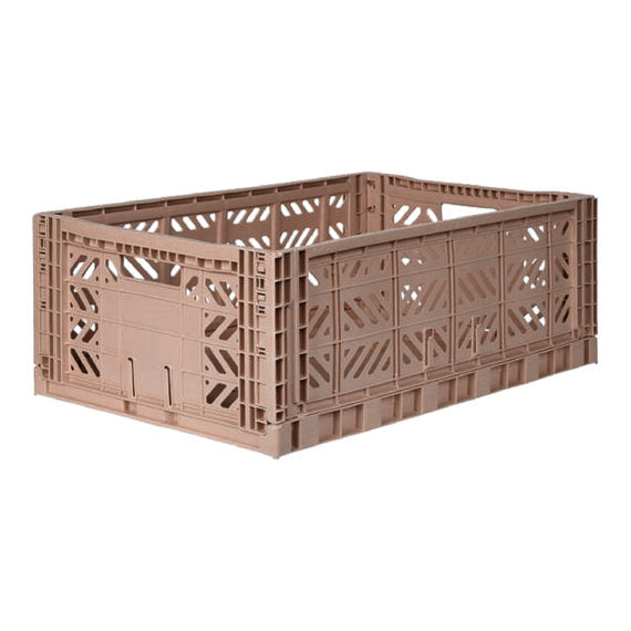 Folding Crate: Maxi Stackable Storage Crate - Warm Taupe Folding Crates - Bon Tot