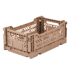 Folding Crate: Mini Stackable Storage Crate - Warm Taupe Folding Crates - Bon Tot