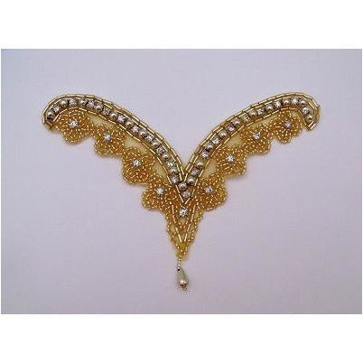 A-082:Gold bead and rhinestones with bead drop
