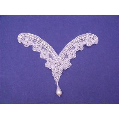 A-082: White bead and rhinestones applique withPearl bead drop