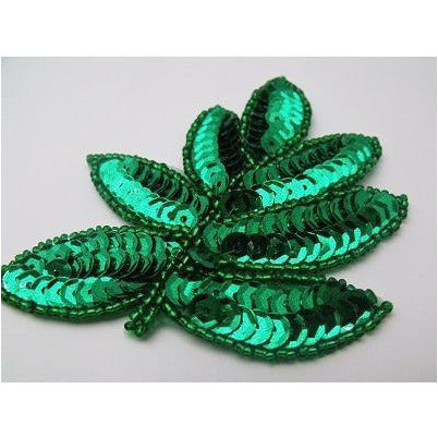 A-091: Green sequin and bead leaf applique