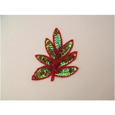 a-091-red-shimmer-sequin-and-bead-leaf-applique