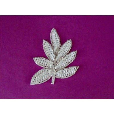 a-091-white-sequin-and-bead-leaf-applique