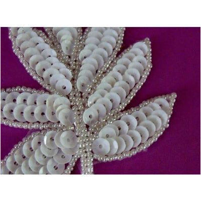 A-091: White sequin and bead leaf applique