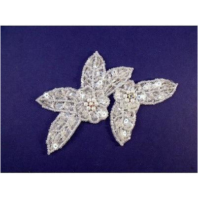 A-099: Applique with ab rhinestones, white crystal