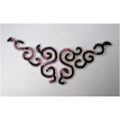 A-107: Burgundy and silver sequin and bead applique