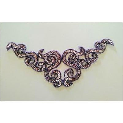 A-107: Metallic Lilac sequin and bead applique