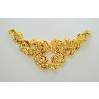 A-107: Gold sequin and bead applique