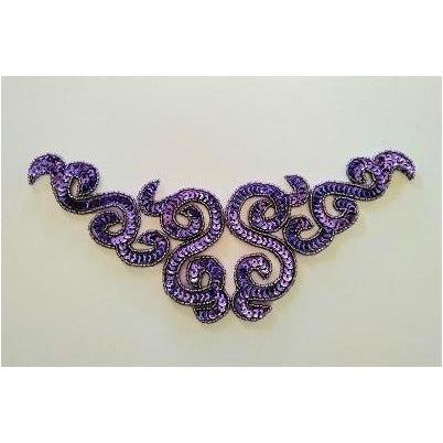 A-107: Metallic purple sequin and bead applique