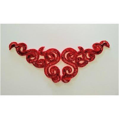 A-107: Red sequin and bead applique