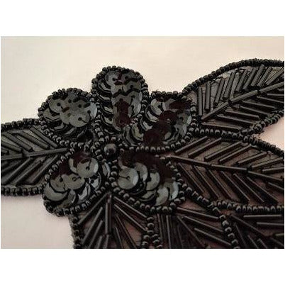 A-115: Black Sequin and bead flower leaf