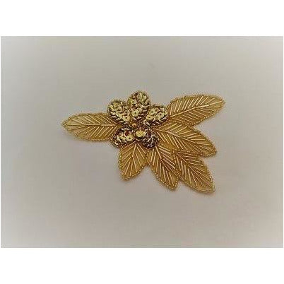 A-115: Gold Sequin and bead flower leaf