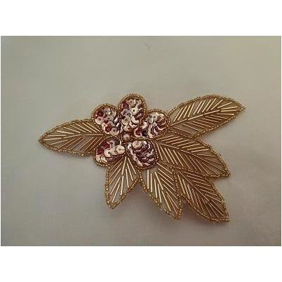 A-115: Rose gold Sequin and bead flower leaf
