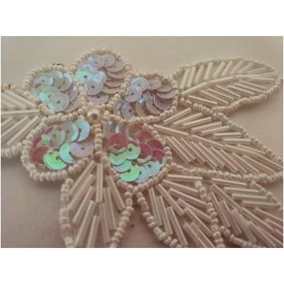 A-115: White iris Sequin and bead flower leaf