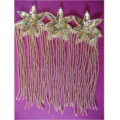 F-013: Gold sequin and bead, 3 flower fringed applique