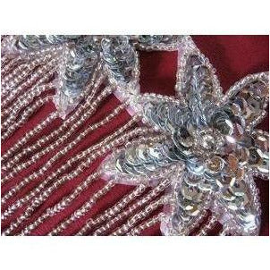 F-013, Silver sequin and bead, 3 flower fringed applique
