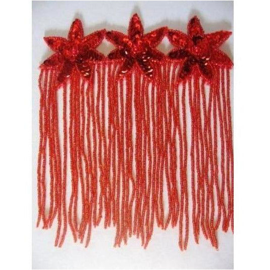 F-013, Red sequin and bead, 3 flower fringed applique