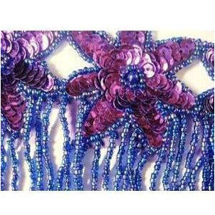F-013, Purple sequin and bead, 3 flower fringed applique