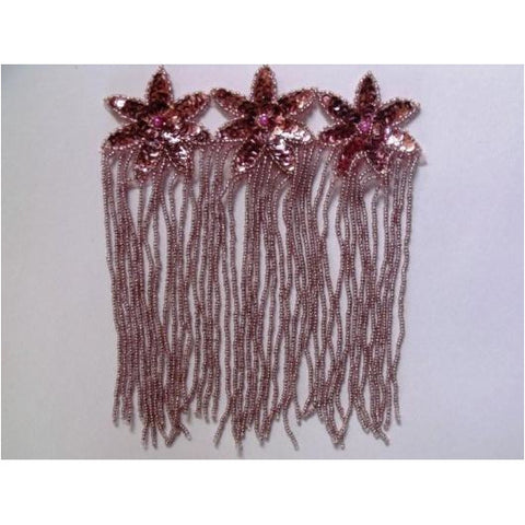 F-013, Silvery Pink, sequin and bead, 3 flower, fringed applique