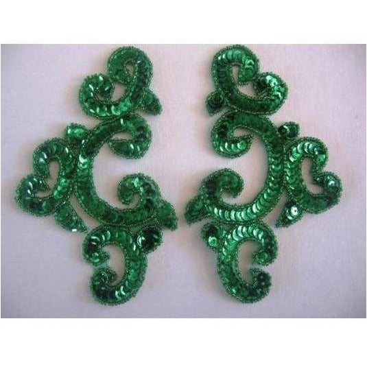 P-024 Green sequin and bead costume pair