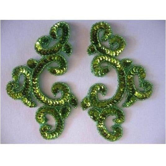 P-024 lime sequin and bead costume pair