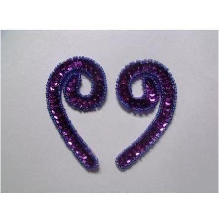 P-026 Purple sequin and bead small squiggle pair