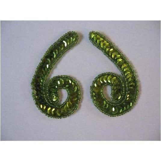 P-026 Lime sequin and bead small squiggle pair
