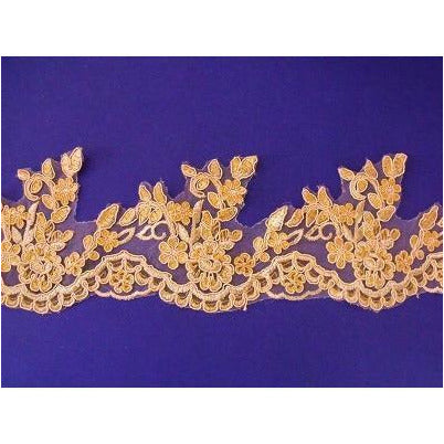 LT-008 Apricot lace trim with sequins