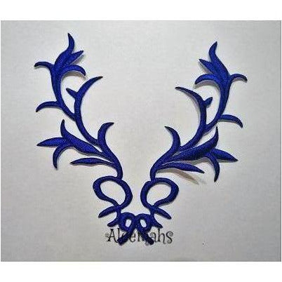 blue embroidered applique, celtic motif, iron on, dance costumes