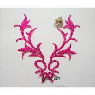 fuchsia embroidered applique, celtic motif, iron on, dance costumes