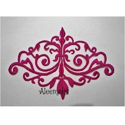 fuchsia detailed celtic scroll motif, embroidered applique, costume