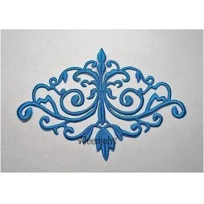 turquoise detailed celtic scroll motif, embroidered applique, costume