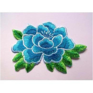 EMB-010: Turquoise flower applique