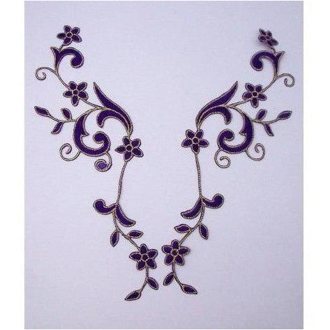 EMB-017: Purple foral embroidered applique pair