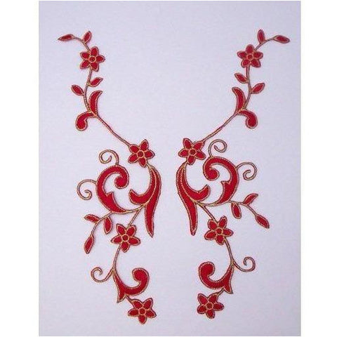 EMB-017: Red Floral embroidered applique pair